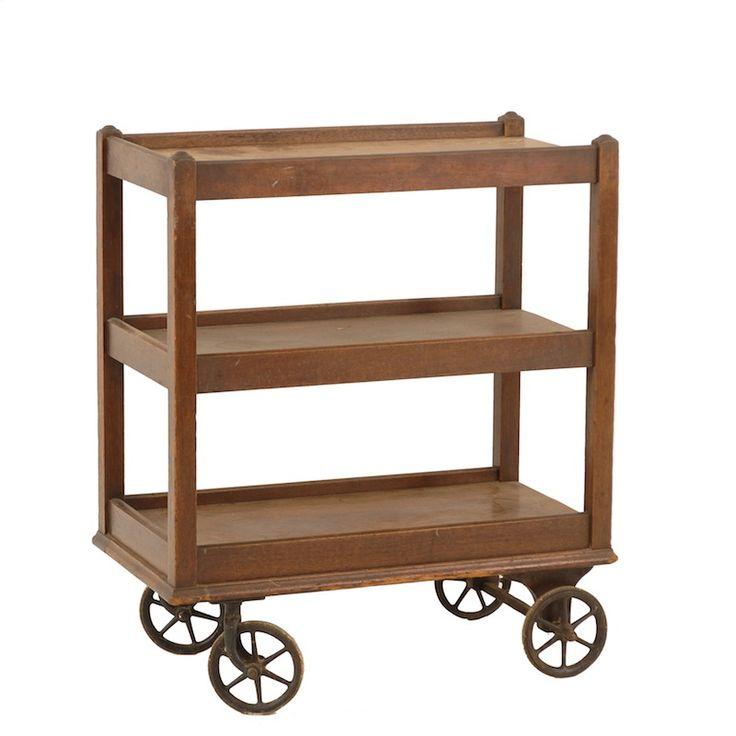 woodward rolling shelf at found vintage rentals three. Black Bedroom Furniture Sets. Home Design Ideas