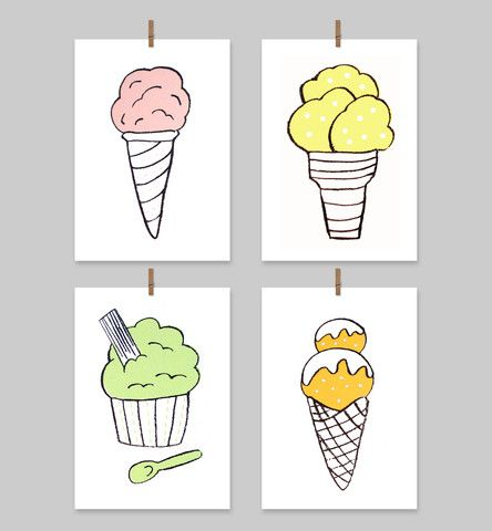 Icecream Cards (Set of 4) - The Art Room