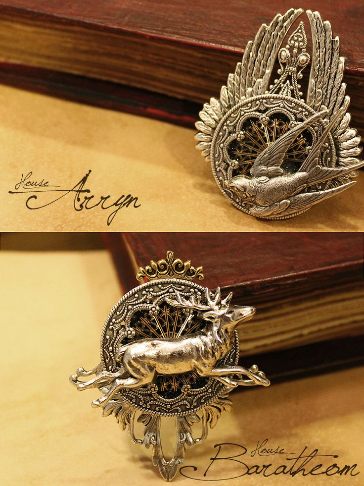 Game of Thrones: House Arryn, House Baratheon jewelry. OMG THE DETAIL.  Oh, how I want to be on the art/set crew for Game of Thrones.