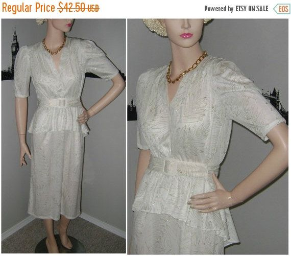 SALE 80's White Peplum Dress Sparkly White by PopcornVintageByTann