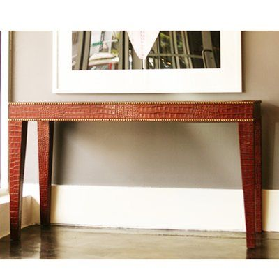 Serge De Troyer Collection Leather Console Table Color: Crocodile Distressed Tan, Nailhead Trim: No Studs