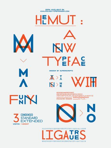 """Affiche présentant la typographie """"Helmut"""" par et de superscript."""