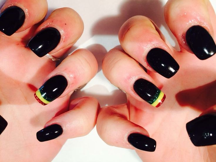 Sculpted acrylic black and rasta nails