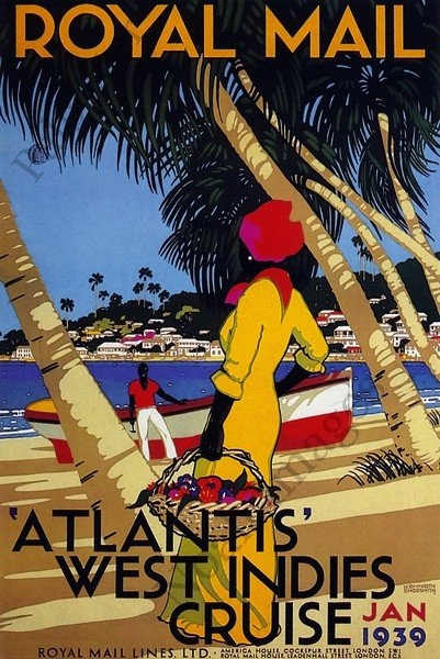 West Indies 1939 Atlantis Cruise Travel Poster