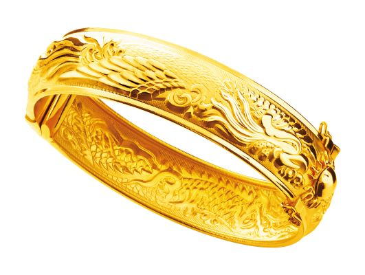 Gold 916 Dragon And Phoenix Bangle Chinese Wedding Rings Jewelry