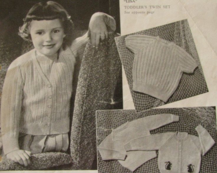 Young Girl's Raglan Twin Set 1960's Vintage  Knitting Pattern  PDF Instant Download Lisa by TassieVintage on Etsy