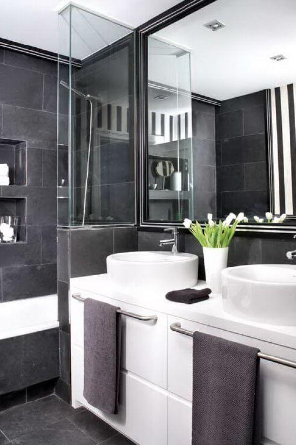 Creative Black And White Tile Bathroom Decorating Ideas Image White Bathroom Decor Gray Bathroom Decor Grey Bathrooms Designs
