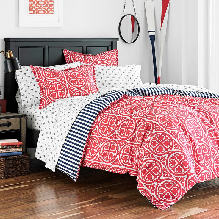 Morgan Duvet Cover Set By Poppy U0026 Fritz   A Bold Red And White Medallion  Print On This Poppy U0026 Fritz Morgan Cotton Duvet Cover Set Gets A Nautical  Flair ... Images
