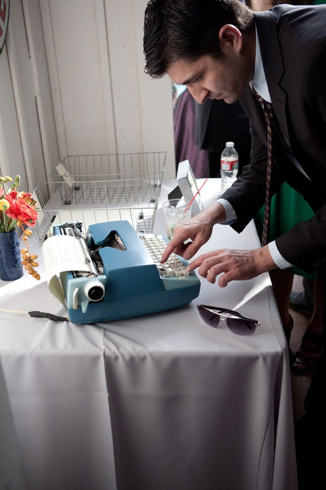 Typewriter Wedding Guestbook  | PHOTO SOURCE • BYCHERRY PHOTOGRAPHY | Featured on WedLoft