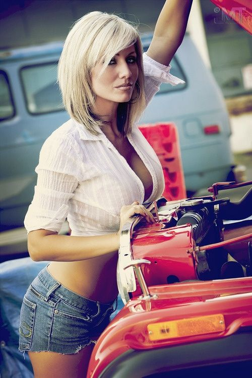 A car the of tied hood on Women