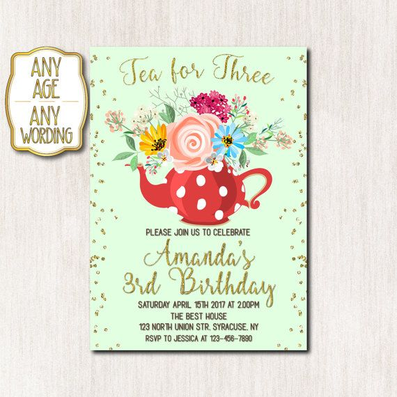 Tea party invitation Tea for three invitation 3rd by CoolStudio