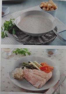 Crema de champiñones y pescado con arroz y verdura...