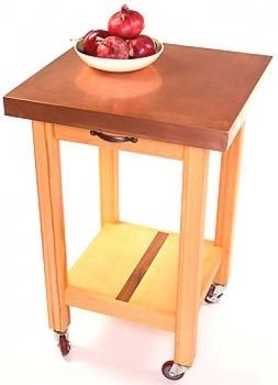 Coppper Top Kitchen Cart With Wood Base Shown With Maple