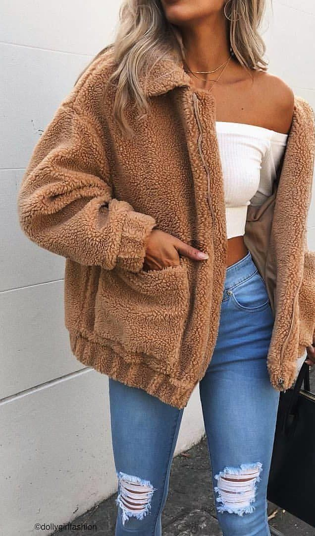 #spring #outfits ✽ TEDDY COAT ✽ Perfect Outerwear For A Chilly Day /// ESSPRESSO JACKET – TAN 🍃 #winteroutfitscasual