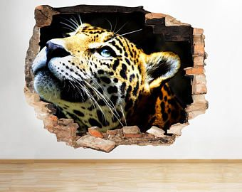 R614 Leopard Animal chat Cool Hall brisé Wall Sticker 3D Art Stickers vinyle chambre