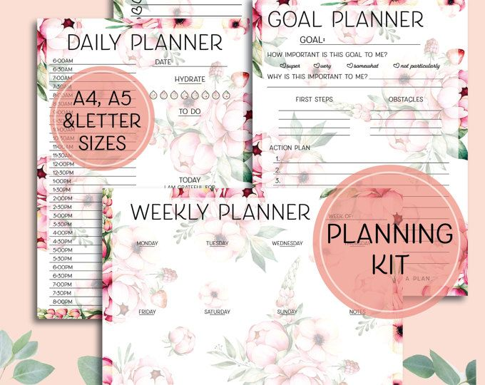 Printable Planning Kit - Home Binder Planning Pages - A4, Letter and A5 sizes in pink and green tropical floral design