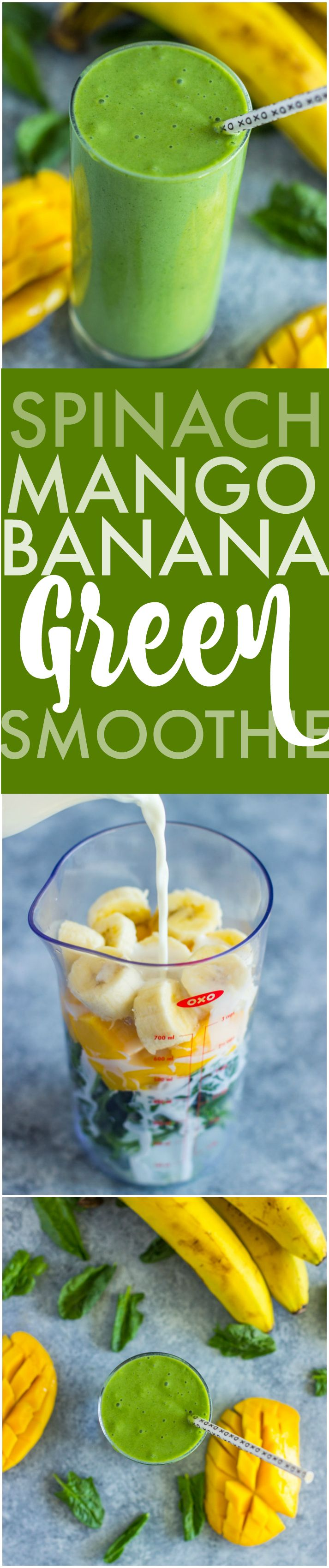 4 Ingredient Spinach Mango Banana Green Smoothie | Gimme Delicious