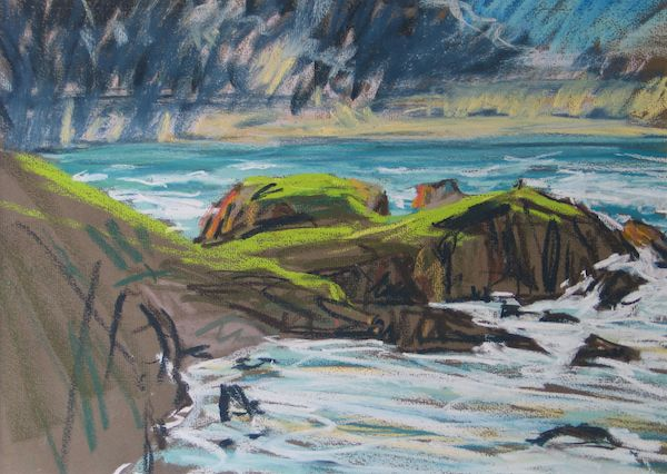Fine Art Landscapes: Mangurstadh Gallery. 'Storm Clouds Rubha Seilibhig' pastel painting by Scottish artist Derek Scanlan.