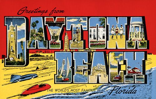 """""""Greetings from Daytona Beach""""  From a collection of vintage large letter, linen postcards from the 1930s and 1940s."""