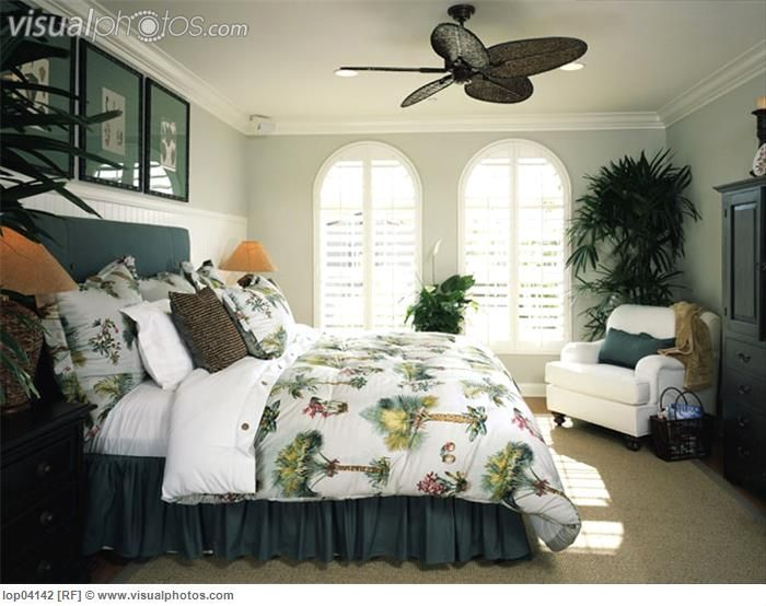 Cozy Beach Style Bedroom with Ceiling Fan