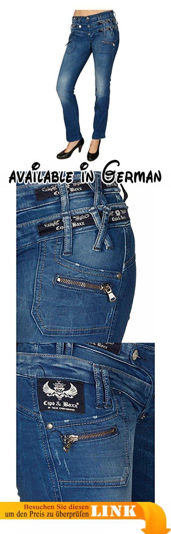 Damen Jeans Hose. Angesagte Jeans mit 3-stufigem Bund. Hoher Tragekomfort durch reine Baumwolle. Zusätzliche Reißverschlüsse unter den Eingrifftaschen. Gerader und figurbetonter Schnitt. Cipo&Baxx-Logos zieren den Bund #Apparel #PANTS
