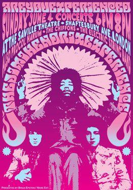 Jimi HENDRIX - Procol Harum - The Chiffons  - 4 June 1967 - London Uk - live show artistic concert poster  - manifesto artistico. €10,00, via Etsy.
