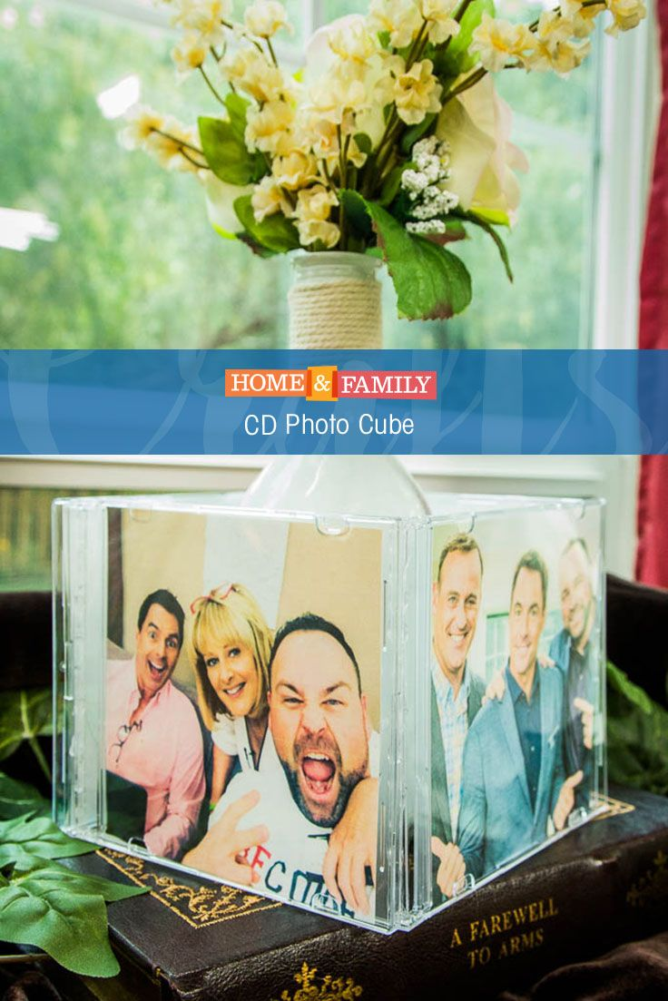 Use old CD cases to create a personalized photo cube! DIY by Matt Rogers on Home and Family! Tune in at 10/9c on Hallmark Channel!