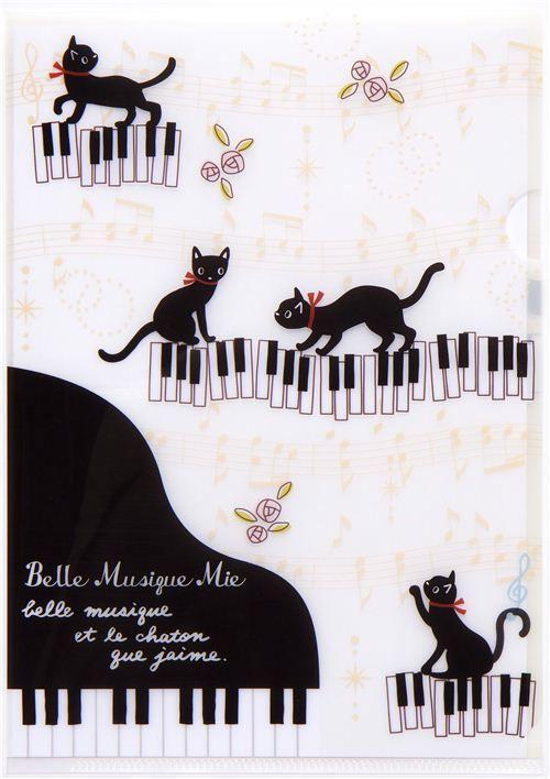 white A5 mini plastic file folder with cats & piano