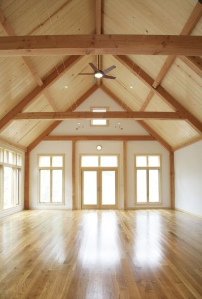 open interior barn house | Post and Beam Barn Home by Yankee Barn Homes