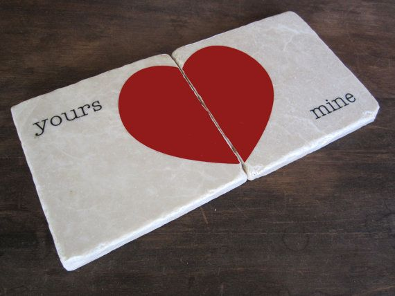 Yours & Mine heart stone coasters
