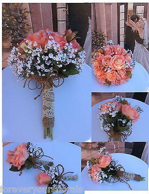 Rustic Coral Bridal Bouquet Silk Coral Wedding Flowers Coral Bridal | eBay