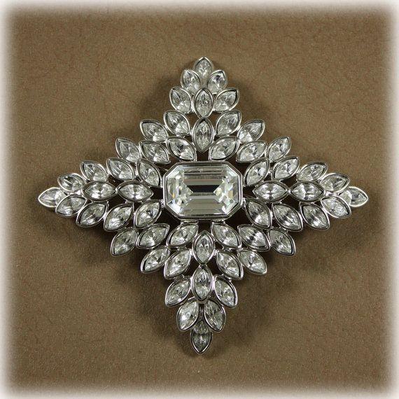 Kenneth Lane Jackie Kennedy Onassis Inspired Rhinestone Brooch Swarovski Crystal