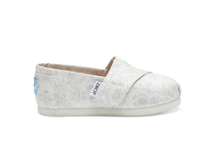 undefined Ivory Silver Jacquard Tiny TOMS Classics