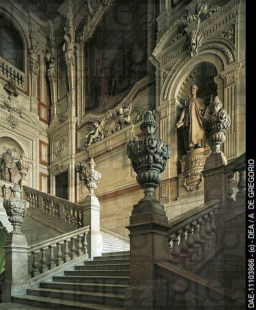 Filippo JUVARRA, Escalera del Palacio Real, h. 1722. Influencias: Rampa del belvedere de Bramante y escalera ovalada del palacio del Quirinal.