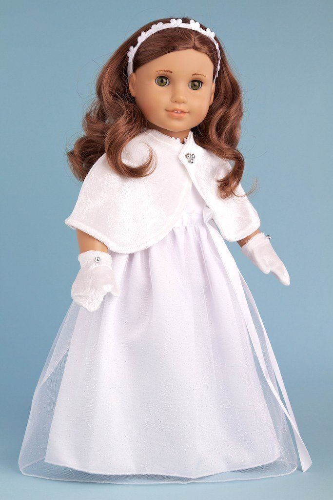 Amazon.com : Cape and Mittens - White velvet cape and mittens with silver pearls (Dress sold separately) - 18 Inch Doll Accessories : Fashio...