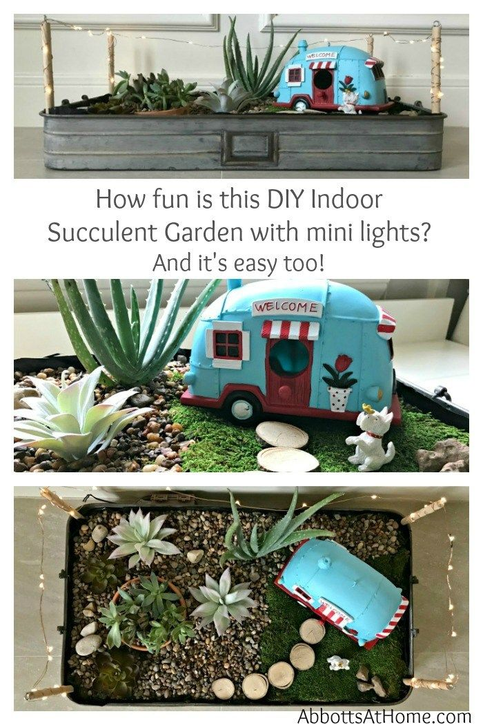This LED Lighted DIY Indoor Succulent Garden Tray is one of the easiest DIY Succulent Garden Ideas you'll find. Fill with your favorite succulents and vintage truck or camper to give it some extra charm. You have to love Easy Indoor Succulents, especially when they're cute decor.