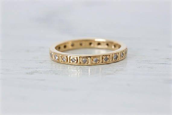 Vintage Eternity Band  Diamond Wedding Band  14k Yellow Gold
