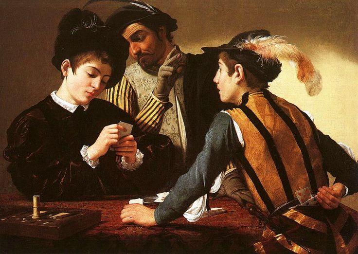 Les tricheurs, Caravage, 1595............Caravage fixe sur la toile cette fraction de seconde où tout se joue, où les protagonistes voient, comprennent, font savoir, réagissent.                                                                                                                                                      More