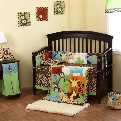 105.89$  Buy here - http://alip5l.worldwells.pw/go.php?t=32674757594 - 8Pc Reversible Crib Infant Room Kids Baby Bedroom Set Nursery Bedding Animal Brown cot bedding set for newborn baby