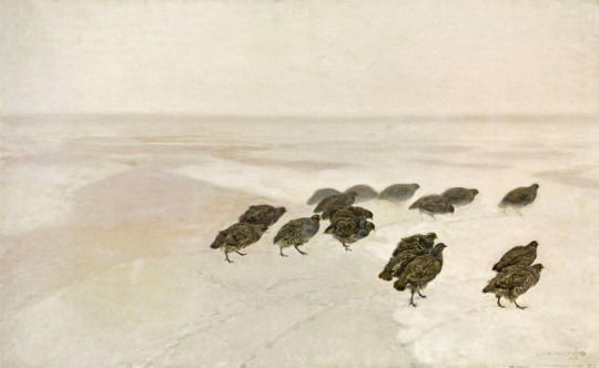 """Partridges""(1891) by Józef Marian Chełmoński (Polish 1849–1914) , oil on canvas; National Museum, Warsaw."
