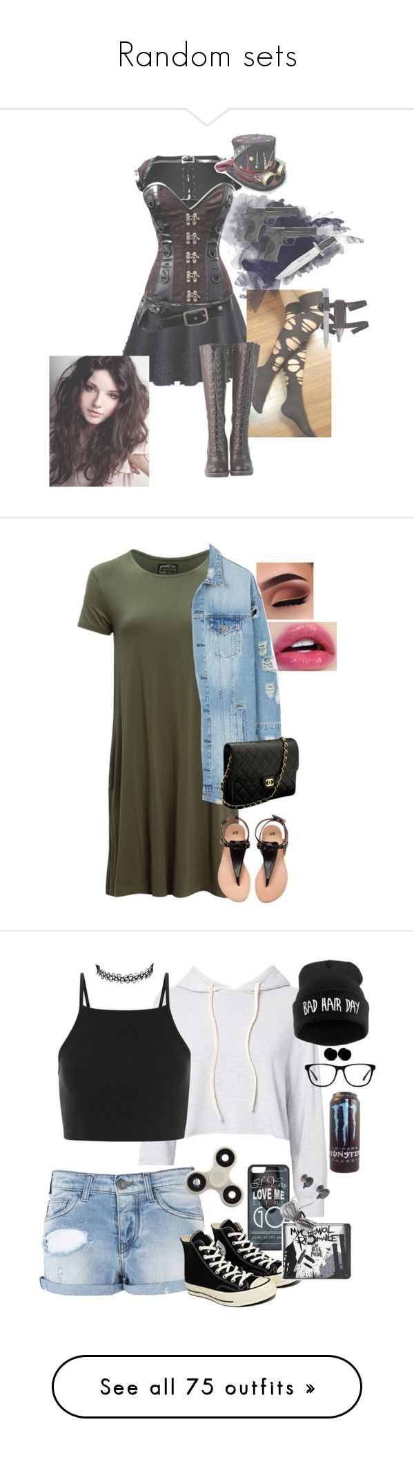 """""""Random sets"""" by g-0-n-e-r ❤ liked on Polyvore featuring Chicwish, DimeCity, Smith & Wesson, United by Blue, LE3NO, Chanel, Monrow, Armani Jeans, Converse and Hot Topic"""