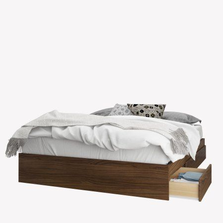 Nexera Cartel 3 Drawer Queen Size Storage Bed Walnut Brown Queen Size Storage Bed Storage Bed Queen Storage Drawers