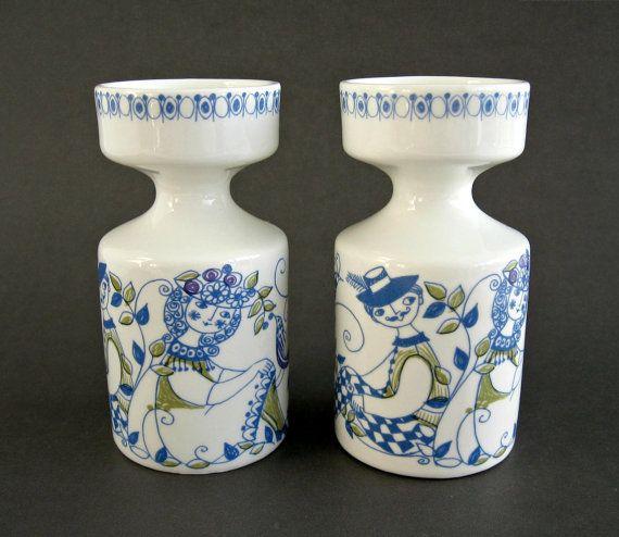 Pair Figgjo Flint Lotte Candle Holders
