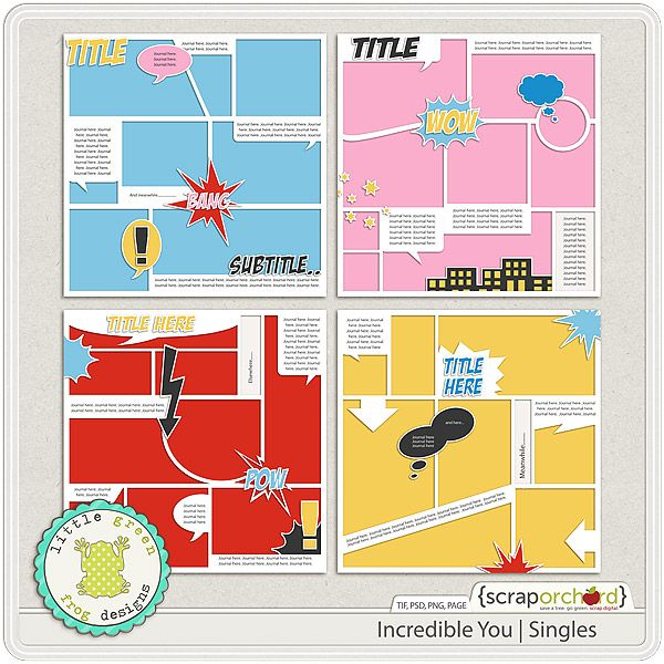 Digital Scrapbook Template - Incredible You Single | Little Green Frog