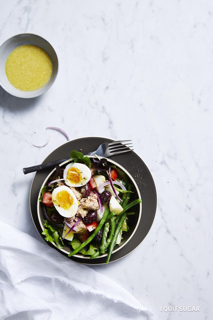 Tuna Nicosia Bowl. This tuna nicoise recipe is a great recipe to have up your sleeve! The mix of classic French flavours in one bowl is a sure-fire hit. – I Quit Sugar