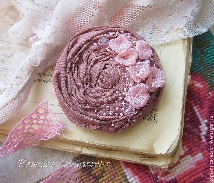 """брошь """"винтажная роза"""" - розовый,роза,брошь из ткани,брошь-цветок,брошь роза"""