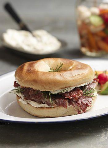 SALT BEEF BAGEL RECIPE BY TOM KERRIDGE I pinned the picked veggie recipe separately
