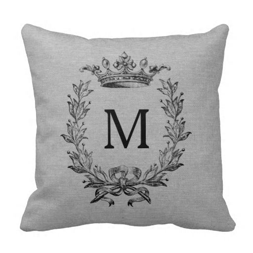 Add your own monogram or initial in a vintage King crown, bow, and laurel design French gray faux jute linen burlap rustic chic shabby country chic throw pillow.