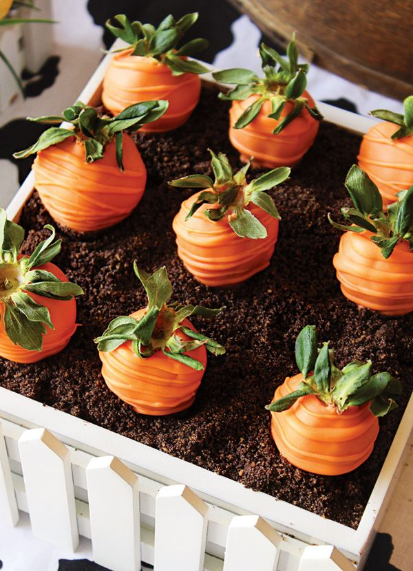 """Chocolate covered strawberry """"carrots"""" -- would be cute to make a cake and use these as toppers with the """"dirt"""" crumbs"""