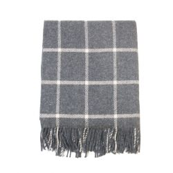 Foxford plaid lambswool ternet grå og hvid